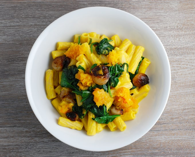 butternut squash, cipollini onions, and spinach with butternut cream sauce