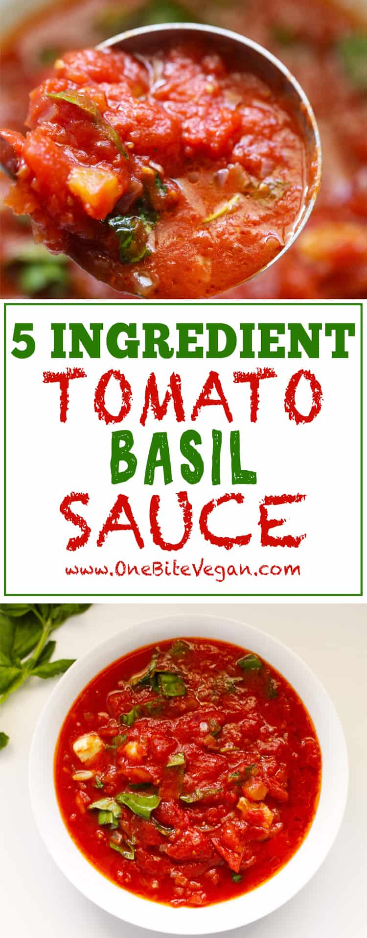 Easy 5 ingredient tomato basil sauce. Ready in 1 hour 15 minutes, this tomato basil sauce is perfect for pasta or any dish calling for tomato sauce.