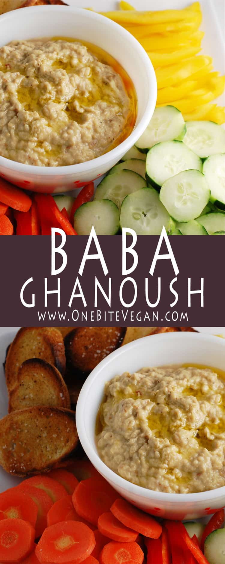 This recipe is for an easy 5 ingredient baba ghanoush. Simple to make with roasted eggplant, tahini, lemon, garlic, and olive oil. Serve with pita and veg.