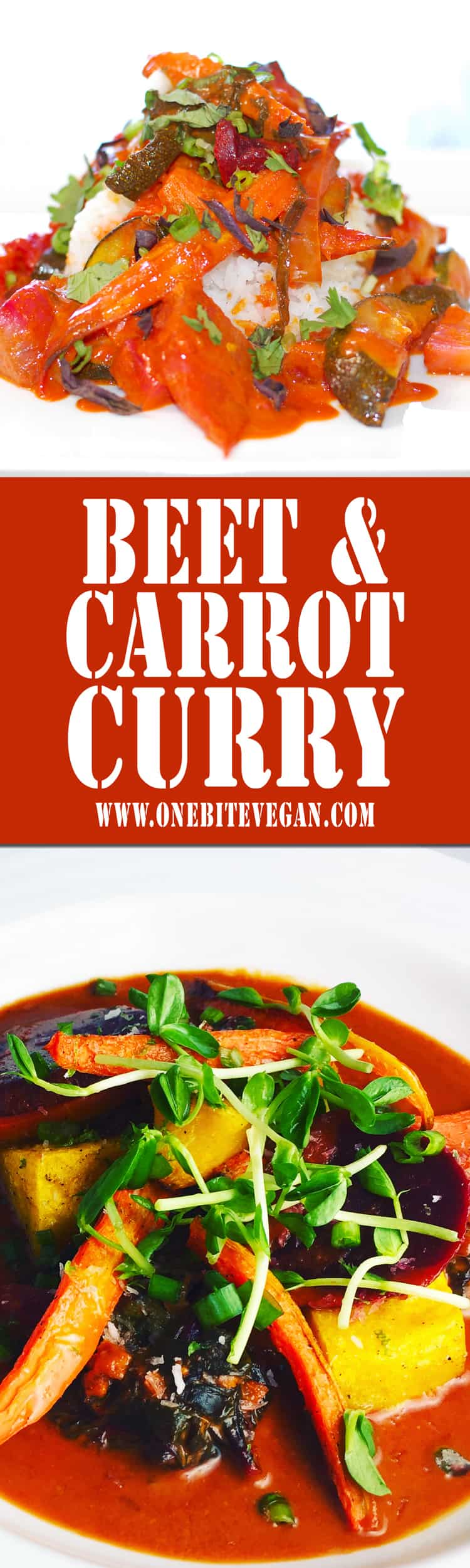 This vegan beet and carrot Thai style curry is as delicious as it looks. Bold flavors with fresh vegetables and coconut milk. Serve over rice or rice noodles.