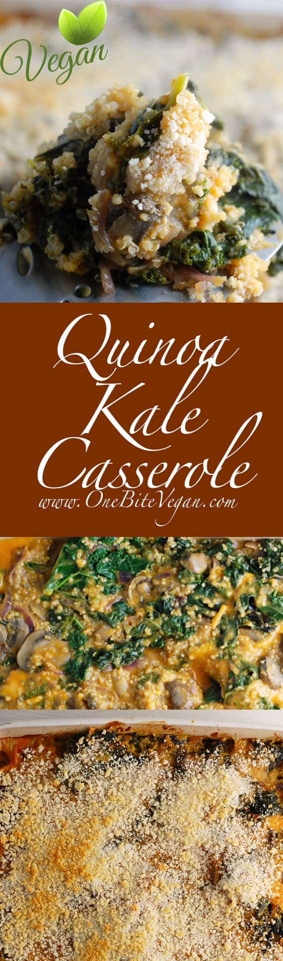 Vegan quinoa kale casserole. Another healthy quinoa casserole made with kale, onions, and mushrooms and without any added oils or fats. Great healthy addition to your weekly meal plan.
