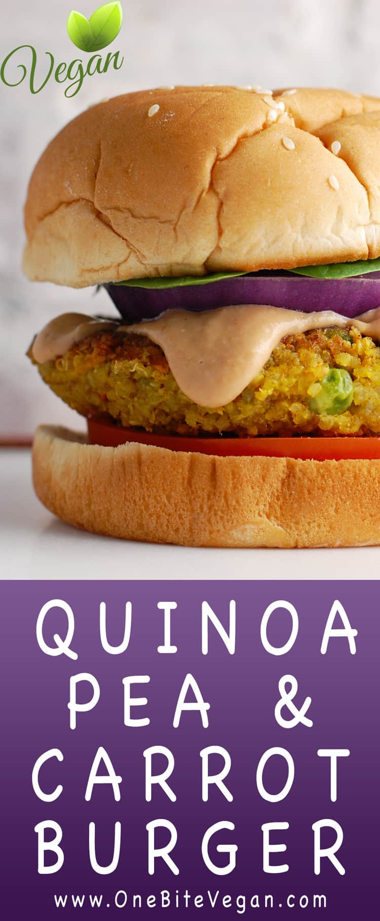 Quinoa burger with peas and carrots. These bean-free, nut-free vegan quinoa burgers are packed with protein and veggies. They can be made ahead of time and even frozen for use another day.