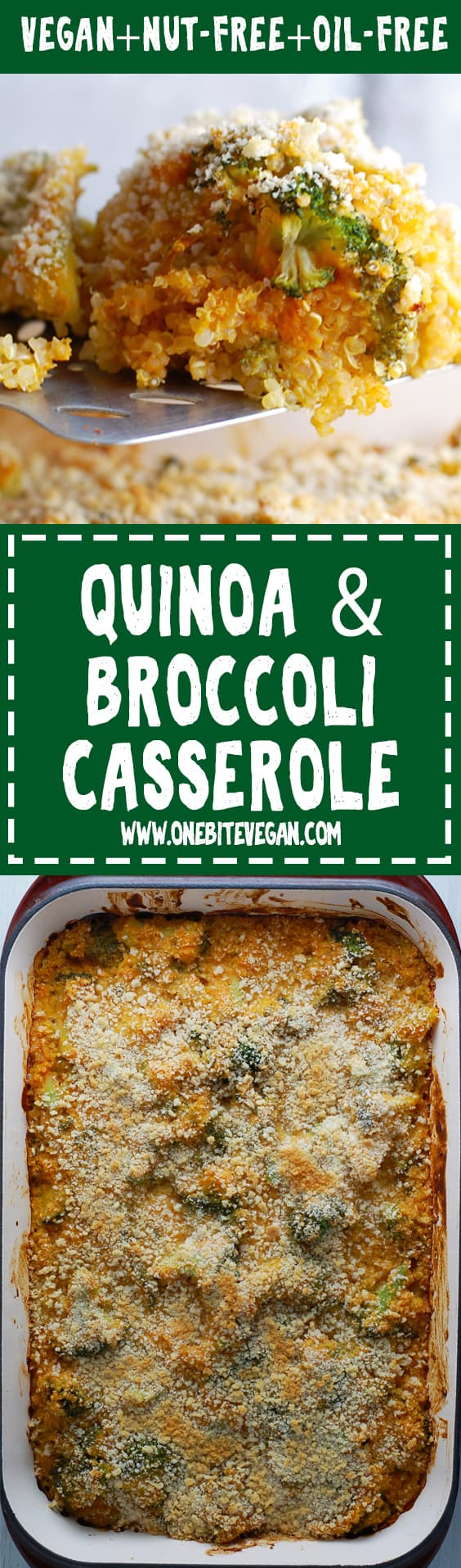 Vegan quinoa broccoli casserole. Healthy quinoa casserole made in minutes and without any added fats or oils. Make ahead for a busy weekday dinner.