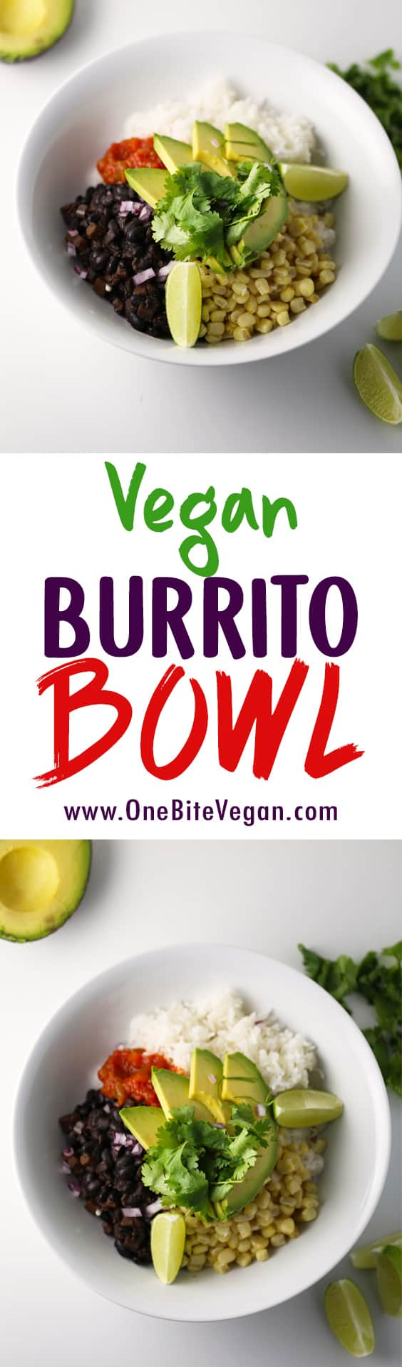 Vegan burrito bowl. Black beans, rice, corn, diced red onion, salsa, avocado, lime, and cilantro. Easy to make and is a great way to use up leftovers.