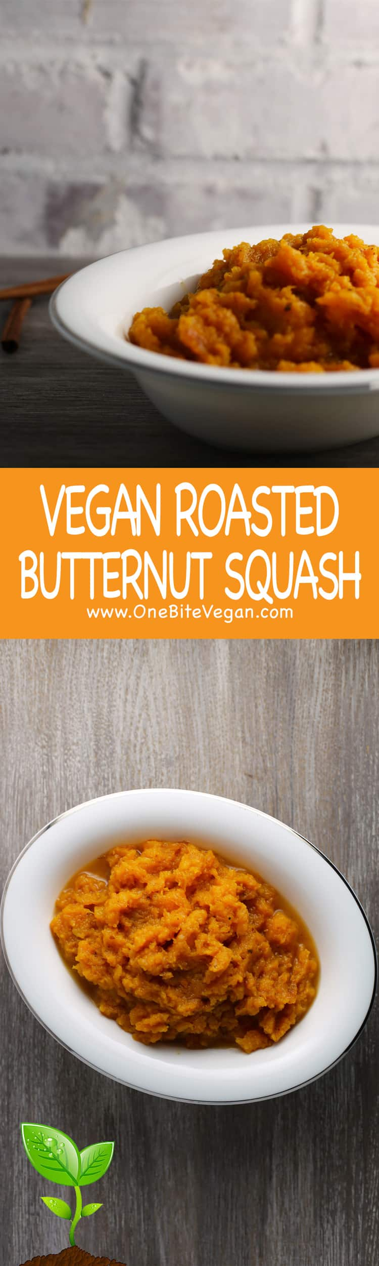 Vegan butternut squash. Butternut squash is cut in half and roasted in the oven for 45 minutes. Then scoopedout and mixed with soy butter, maple syrup, and spices.