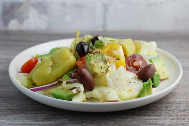 vegan avocado greek salad