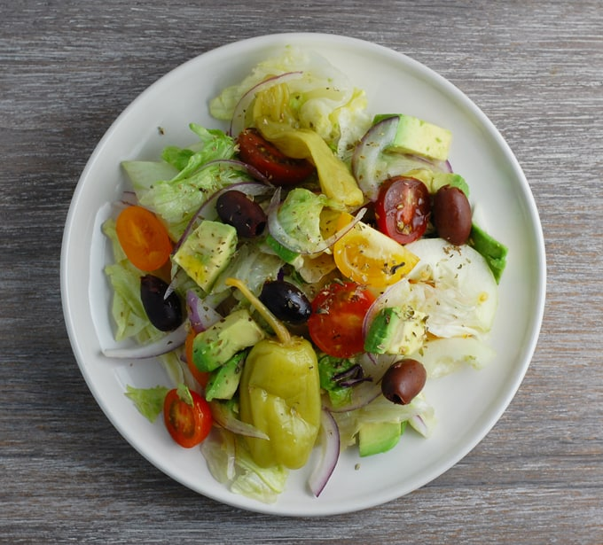 vegan avocado greek salad