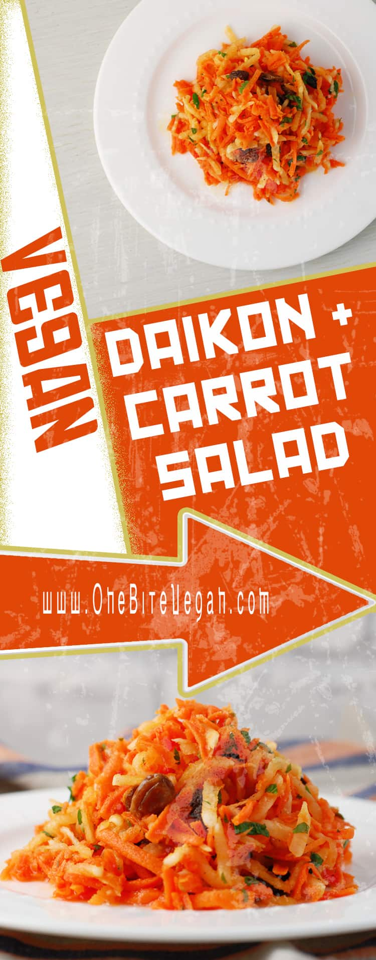 Grated daikon carrot salad with raisins. Fresh Daikon radish and carrots are grated and mixed with plump raisins, lemon juice, cilantro, and olive oil.