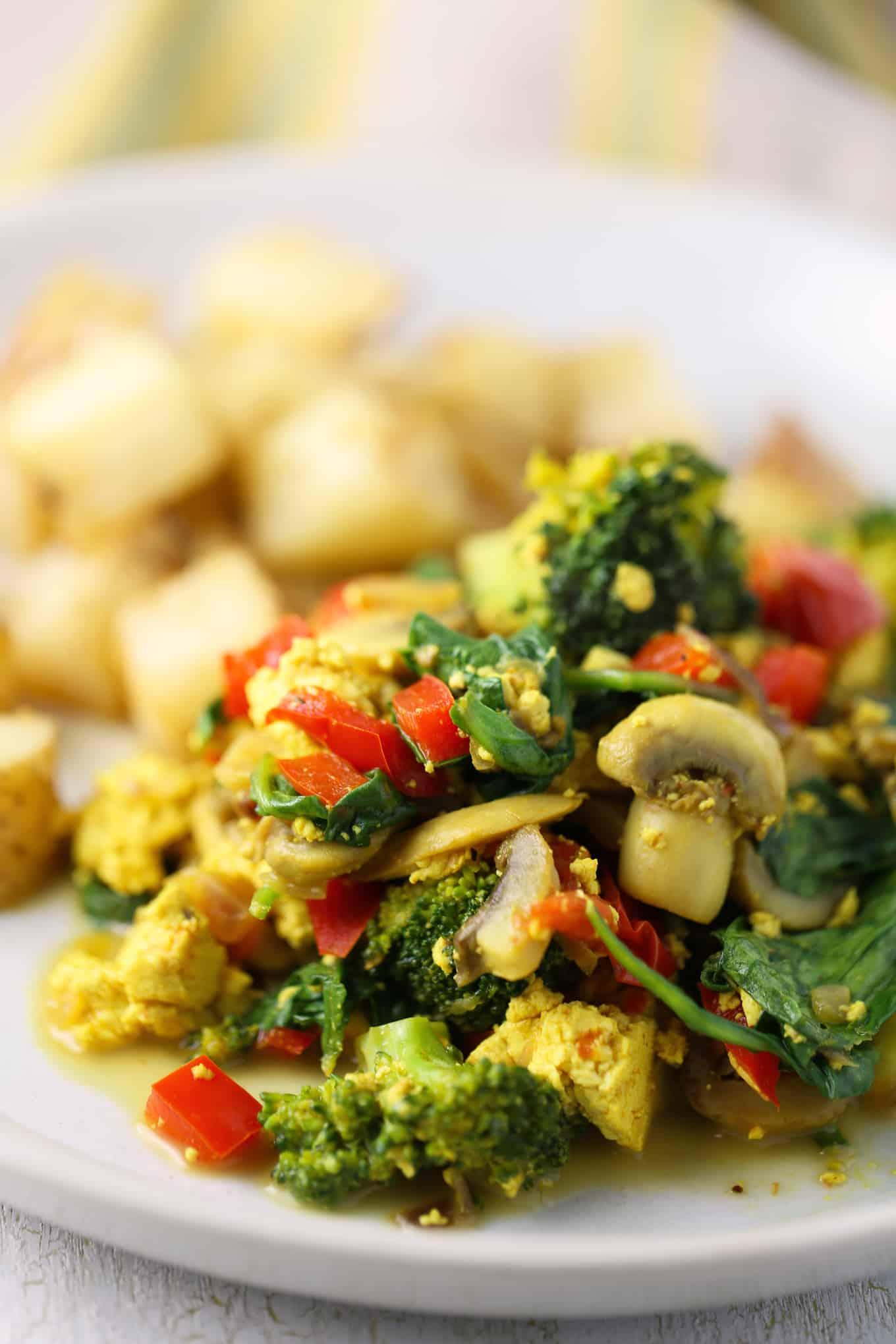 Tofu Scramble With Veggies And Roasted Potatoes The Vegan