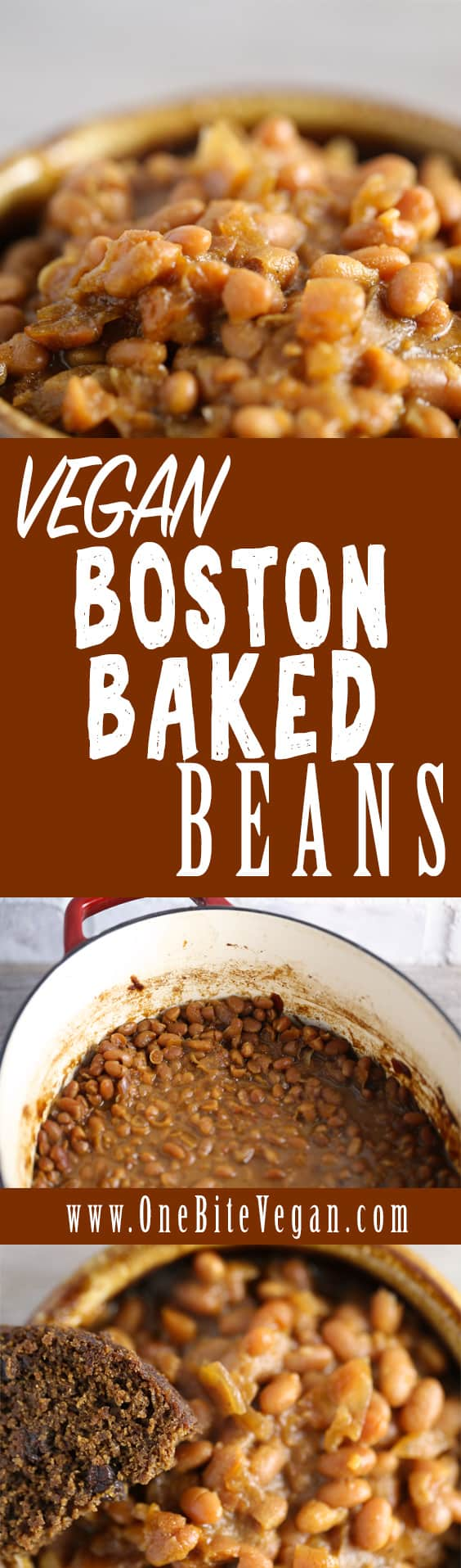 Vegan Boston baked beans. Navy beans with molasses, maple syrup, garlic, mustard, onion, and tomato then baked in the oven for 6 hours at low temperature.