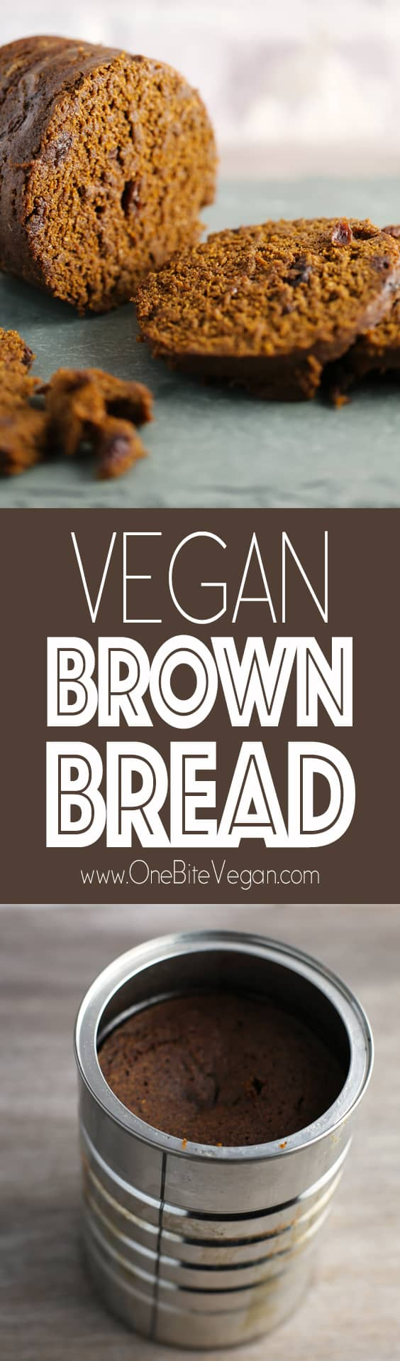 Vegan brown bread baked in a can. Rye, wheat, and corn flour blended with raisins, almond milk, molasses, baking soda, and salt then poured into a greased coffee can and baked in a water bath.