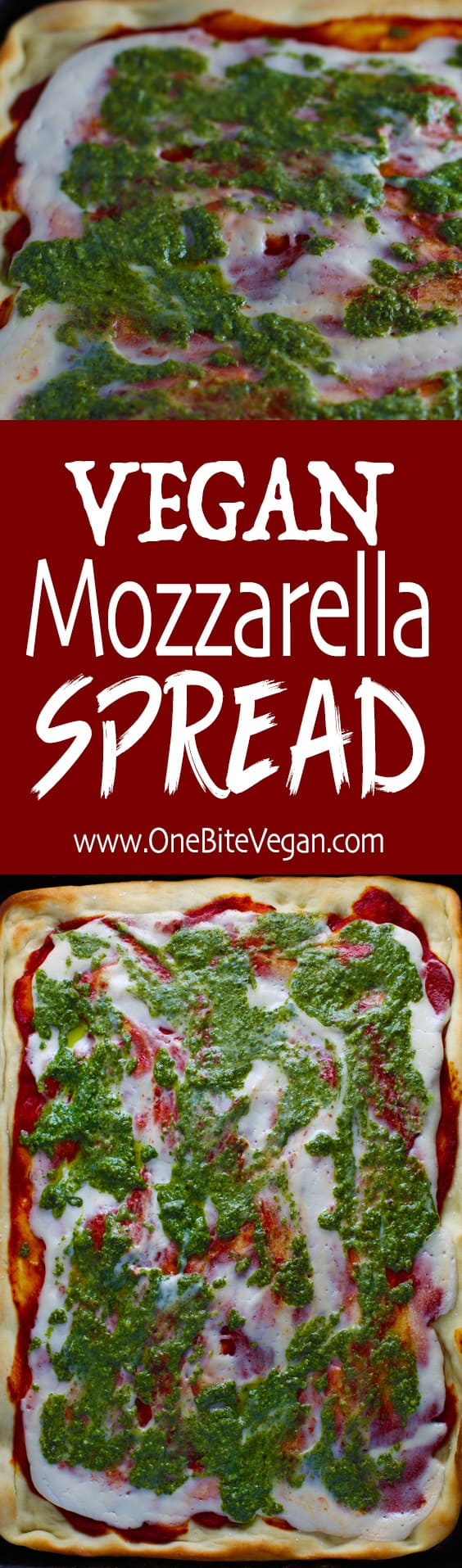 Vegan mozzarella spread. Mozzarella style flavored vegan cheese made with cashews and spices. It has a beautiful sauce-like consistency and is perfect on top of pizza, sandwiches, or pasta.