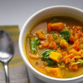Get better soup. Immune boosting and sinus-clearingsoup made with ginger, turmeric, garlic, sweet potatoes, squash, and more.